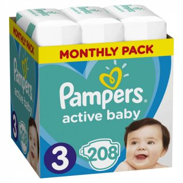 Scutece Pampers Active Baby 6-10kg Midi 3 (208buc)