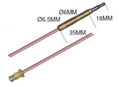Termocupla L=600 mm, cap 6,0 (6,5) mm