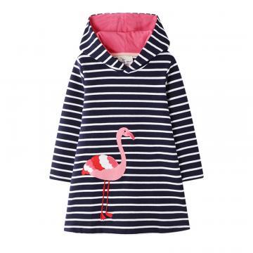 Tunica bumbac cu gluga, aplicatii cusute, Flamingo, negru de la A&P Collections Online Srl-d