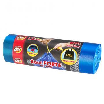 Saci menaj Oti Forte cu snur 60L, albastru, 12 buc./rola