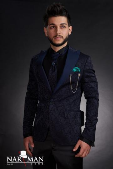 Costume barbati - Smoking albastru, guler spitz, 03CAB