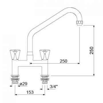 Baterie cu doi robineti si alimentare dubla 549626