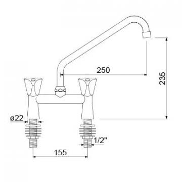 Baterie spalator cu brat rotativ si doi robineti 18mm, L=250 de la Kalva Solutions Srl
