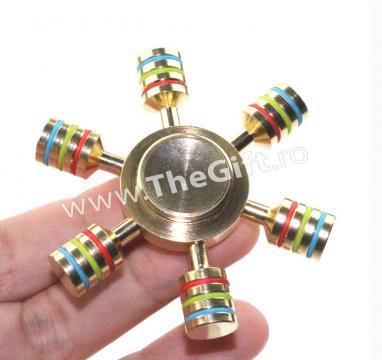 Jucarie antistres Fidget Spinner Rainbow, in cutie metalica