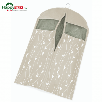 Husa protectie haine-Leaves-bej 100x60 cm