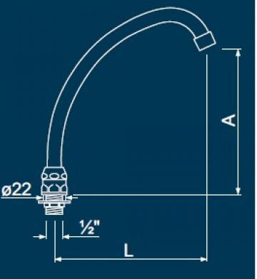 Pipa scurgere pentru baterie scurgere A=200mm