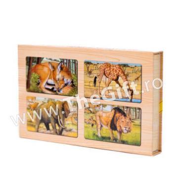 Set 4 puzzle-uri din lemn, animale si pasari