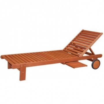 Sezlong lemn Strend Pro 196x71x28 81 cm, cu masuta