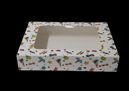 Cutie carton cu fereastra party 19x19x6,5cm 25 buc/set de la Cristian Food Industry Srl.