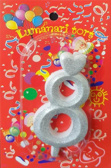 Lumanari tort argintii cifra 8 20 buc/cutie de la Cristian Food Industry Srl.