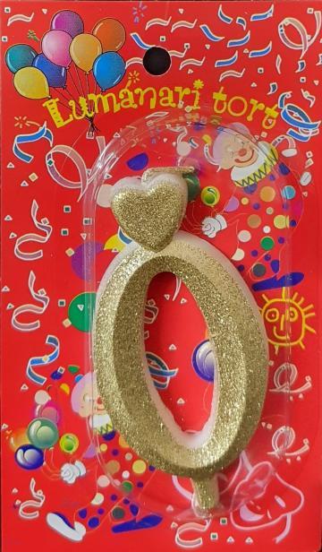 Lumanari tort aurii cifra 0 20 buc/cutie de la Cristian Food Industry Srl.