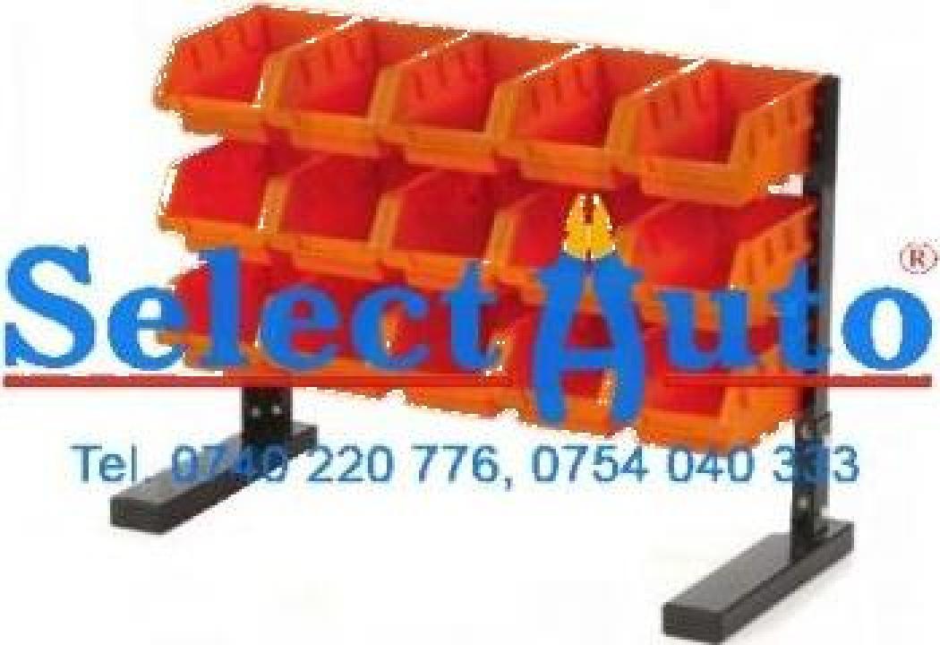 Raft metalic cu 15 cuve pentru depozitare