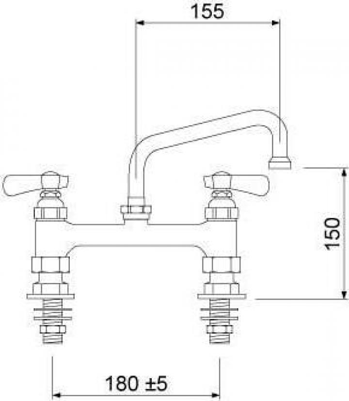 Baterie cu doi robineti si alimentare dubla 16 L=155mm
