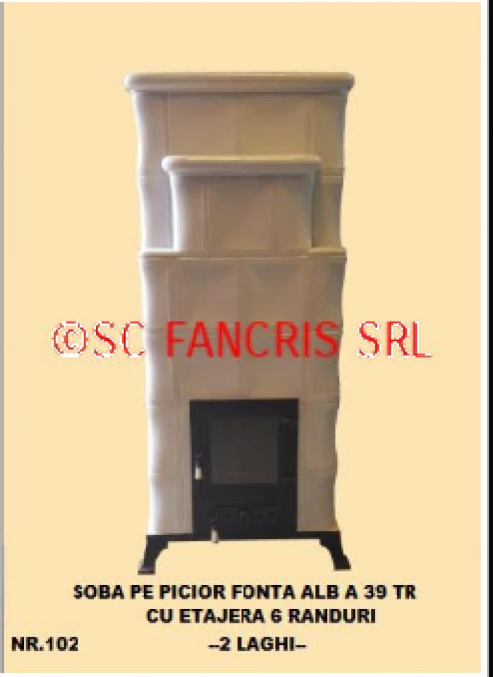 Soba picior fonta alb A39 cu etajera 6 R