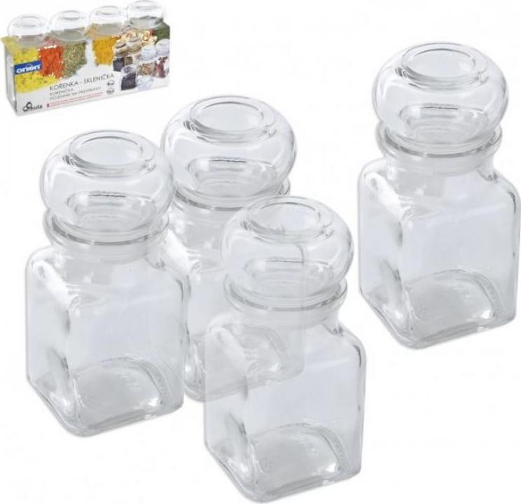 Set 4 recipiente din sticla pentru condimente