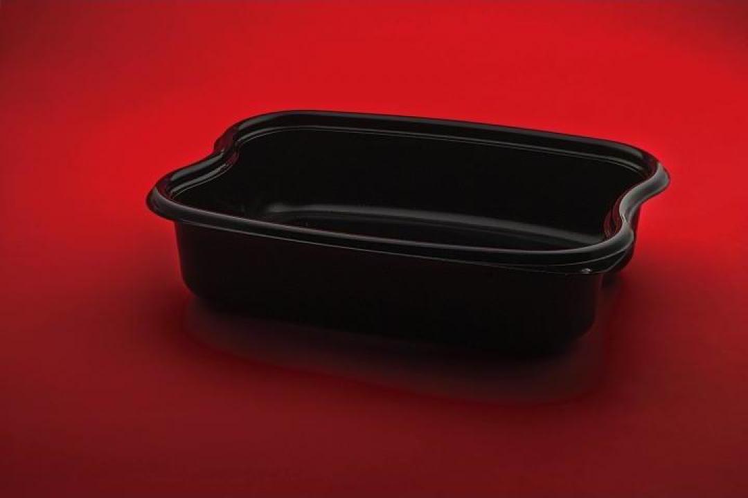 Caserola neagra PP 1 compartiment cu capac 30 buc/set