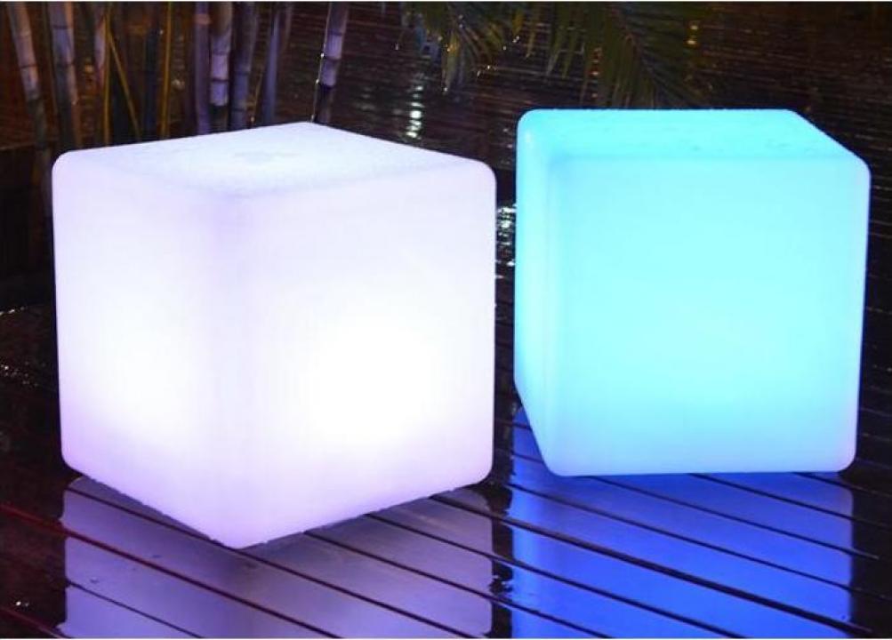 Cub luminos, masa, taburet iluminat LED RGBW, horeca