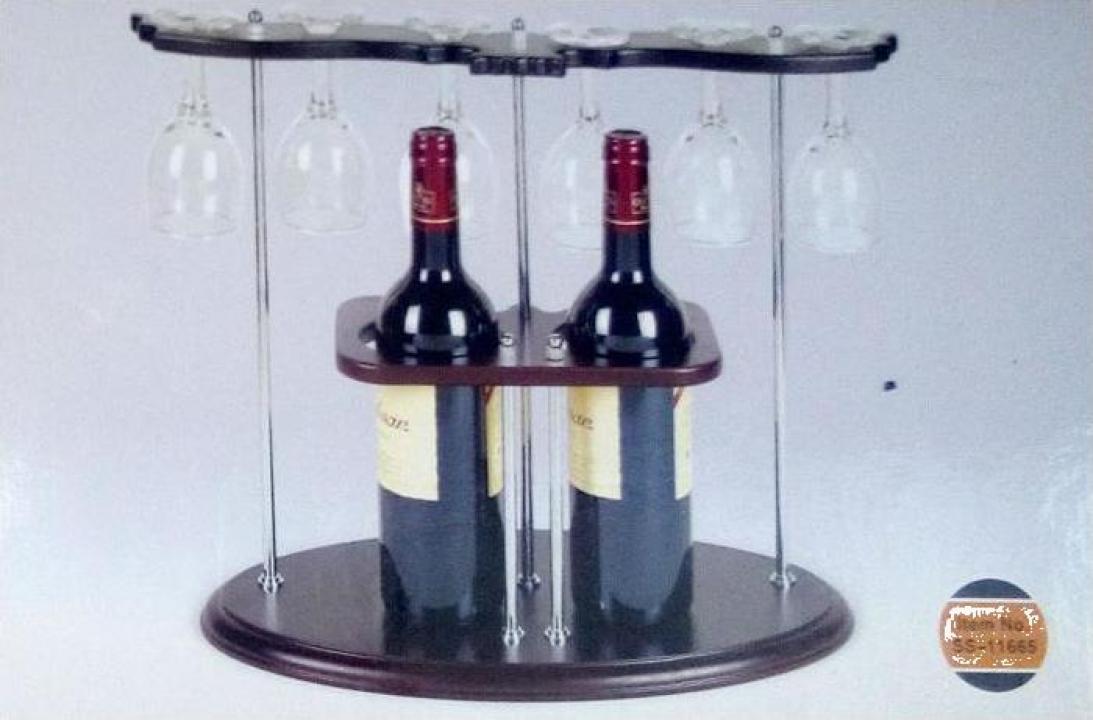 Bar din lemn, pentru 2 sticle, cu 5 pahare incluse