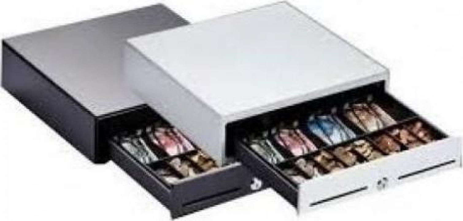 Sertar de bani metalic Piccolo 330, alb/gri