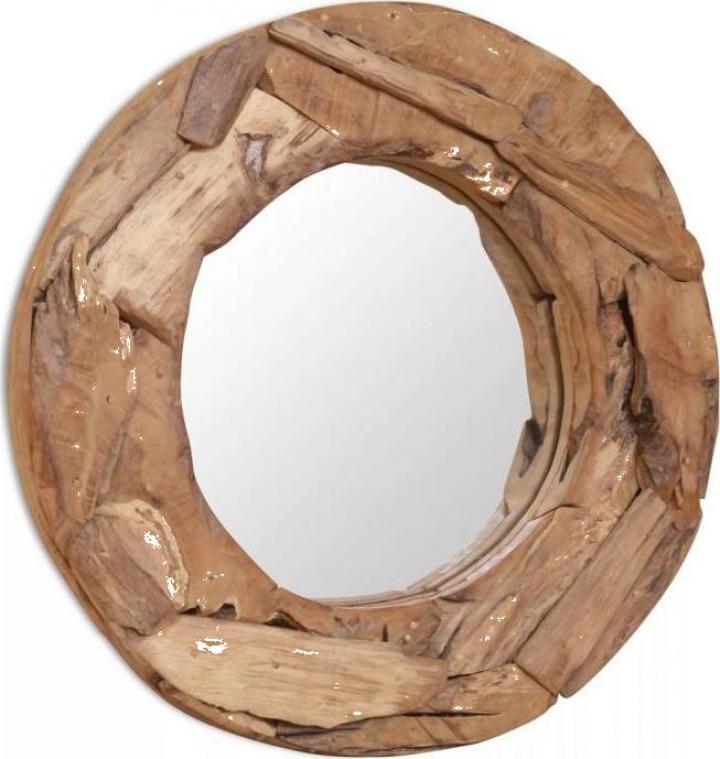 Oglinda decorativa lemn de tec 60 cm rotunda