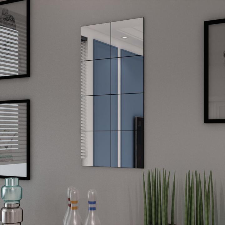 Placi de oglinda din sticla fara rama 20,5 cm, 8 buc.