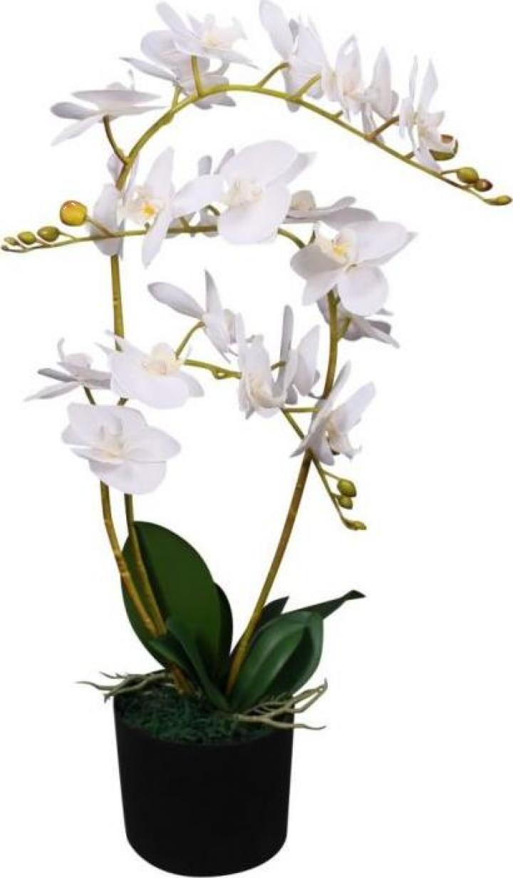Planta artificiala orhidee cu ghiveci, 65 cm, alb