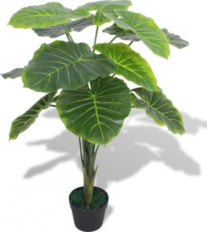 Planta artificiala Taro cu ghiveci, 70 cm, verde