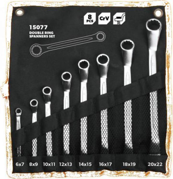 Set 8 chei inelare cu cot si husa organizator
