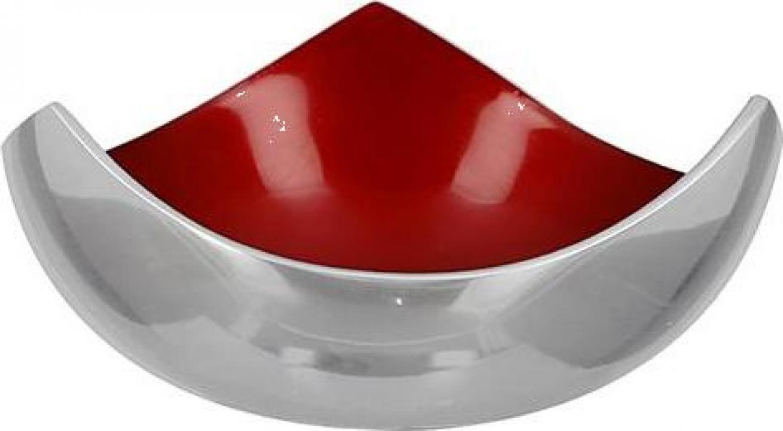 Bol decorativ Glaze aluminiu emailat, rosu/ argintiu, 6x12x1
