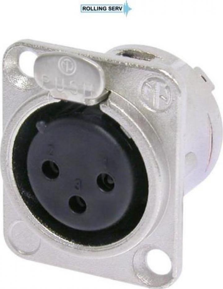 Conector XLR Mama de panou cu 3 pini Neutrik NC3FD-L-1