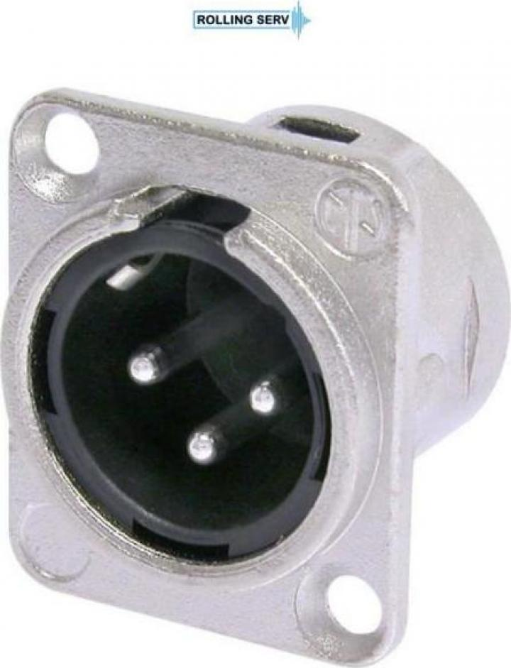 Conector XLR Tata de panou cu 3 pini Neutrik NC3MD-L-1