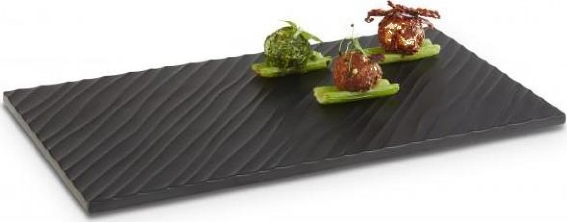 Platou melamina negru, 32.5x17.5 cm