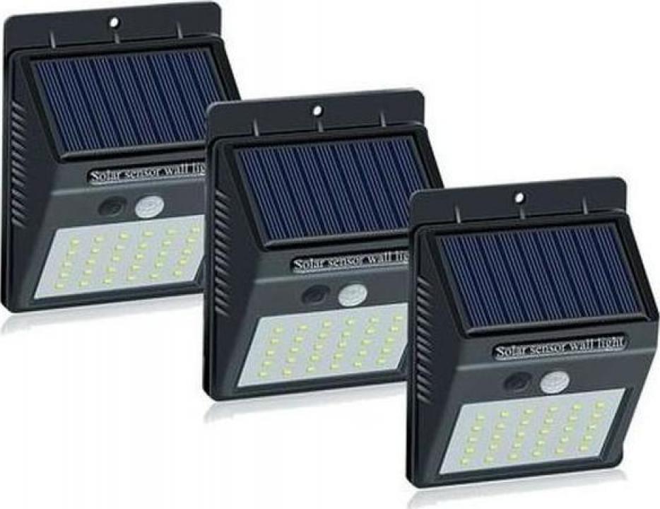 Set 3 lampi solare cu 30 LED, senzor de miscare