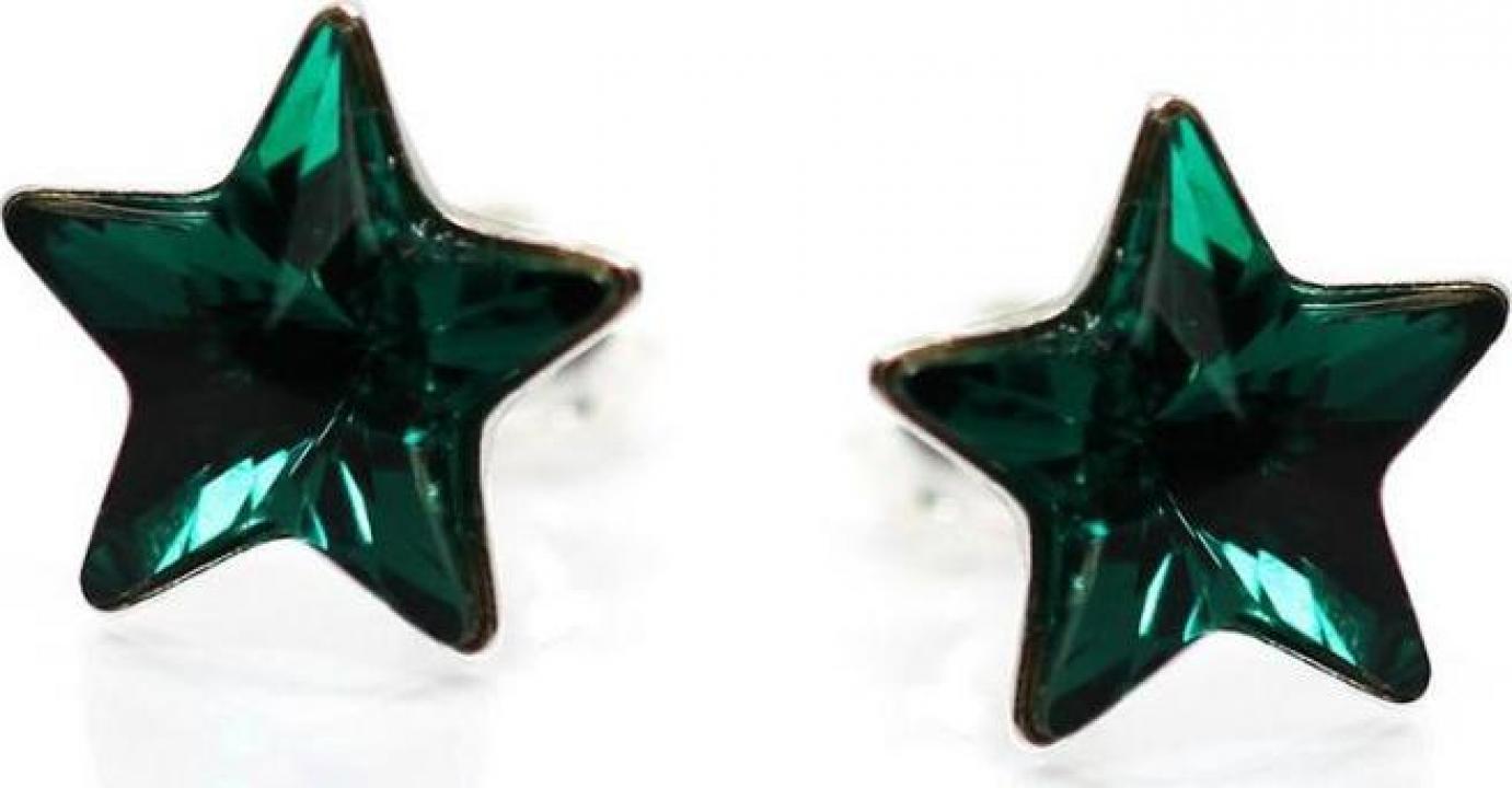 Cercei argint 925 si swarovski Stars Emerald