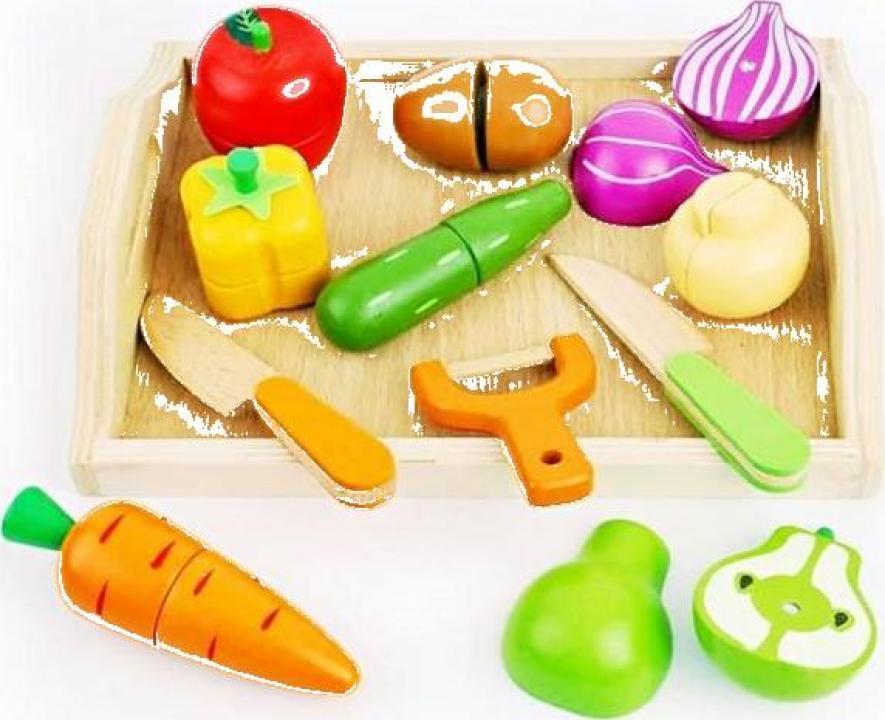 Joc educativ pentru copii set feliere legume din lemn